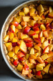 Peaches and crumble cake Royalty Free Stock Photography