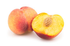Peaches cut half Royalty Free Stock Photography