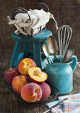Peaches and eggs. Stock Photos