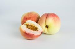 Peaches. Fresh peaches on white background Royalty Free Stock Photos