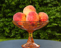 Peaches. Freshly picked sweet and juicy peaches in an antique glass bowl of fruit Stock Image