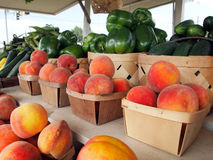 Peaches at the Fruit Stand Stock Photography