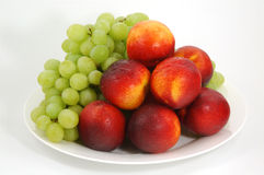 Peaches and grape 01 Stock Photo