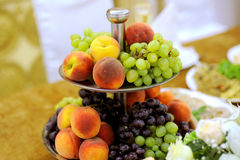 Peaches and Grape Stock Photos