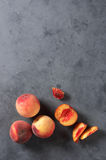 Peaches on gray Royalty Free Stock Images
