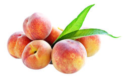 Peaches with green leaf. Royalty Free Stock Image