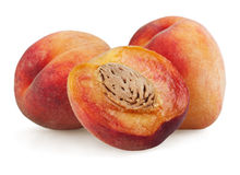 Peaches with half Stock Images