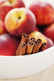 Peaches with honey and cinnamon Royalty Free Stock Photo