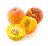 Peaches isolated on white. Few ripe peaches isolated on white background Royalty Free Stock Photography