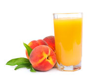 Peaches juice and sweet peaches Stock Image