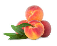 Peaches with leaf Stock Photos