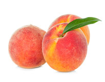 Peaches with leaf Royalty Free Stock Images