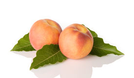 Peaches With Leaves Royalty Free Stock Images