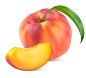 Peaches with leaves and slices Royalty Free Stock Photo