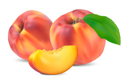 Peaches with leaves and slices royalty free illustration