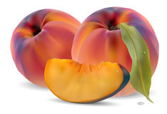 Peaches with leaves and slices Royalty Free Stock Image