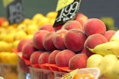 Peaches at the market Royalty Free Stock Photo
