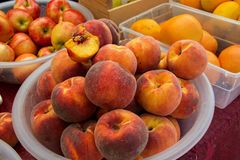 Peaches at Market Royalty Free Stock Image