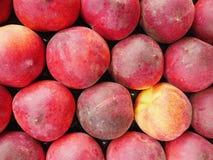 Peaches market organic Stock Photo