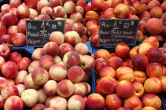 Peaches and nectarines. On a fruit market in france Royalty Free Stock Photo