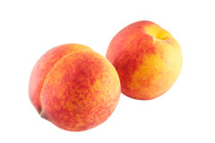 peaches odosobnione białe Zdjęcie Stock