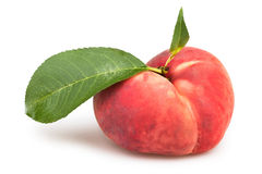 Peaches one leaves flat Stock Images