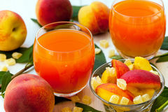 Peaches and peach smoothies Royalty Free Stock Image