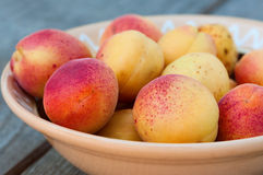 Peaches in plate close-up Royalty Free Stock Image