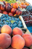 Peaches and plums. At green market stand stock image