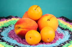 Peaches and plums. Some peaches and plums on a few colored napkin and colored background Royalty Free Stock Images