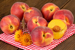 Peaches Rustic Still Life Stock Photos