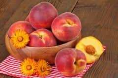 Peaches Rustic Still Life Royalty Free Stock Photo