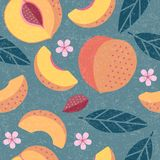 Peaches seamless pattern. Whole and sliced peaches with leaves and flowers on shabby background. Original simple flat illustration. Shabby style vector illustration