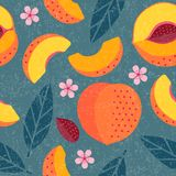Peaches seamless pattern. Whole and sliced peaches with leaves and flowers on shabby background. Original simple flat illustration. Shabby style stock illustration