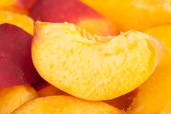 Peaches slice macro Stock Photography