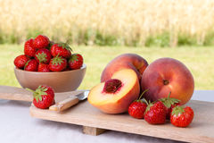 Peaches and Strawberries Stock Photography