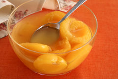 Peaches in syrup Royalty Free Stock Image