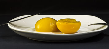 Peaches in syrup. On flat Stock Photo