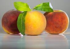 Peaches. Three beautiful peaches on light background Stock Photo