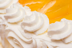 Peaches Whip Cream Cake. Close Up Royalty Free Stock Images