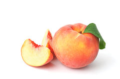 Peaches on white Royalty Free Stock Image