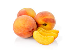 Peaches on a white background Stock Images