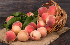 Peaches in a wicker basket with leaves on wooden table.  royalty free stock photo