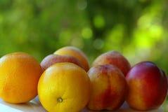 Peachs and orange. Macro shot of Peachs and orange fruits royalty free stock photos