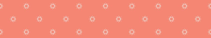 Peachy Coral Flower Blooms Border Vector Colorful Floral. Peachy Coral Flower Blooms Border Vector. Colorful Floral Seamless Repeating Banner Background. Hand stock illustration