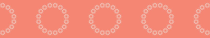 Peachy Coral Flower Blooms Border Vector. Colorful Floral. Seamless Repeating Banner Background. Hand Drawn Bold Large Scale Daisy Fashion Prints, Ribbon Trim stock illustration