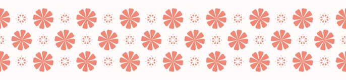Peachy Coral Flower Blooms Border Vector Ribbon Trim. Peachy Coral Flower Blooms Border Vector. Colorful Floral Seamless Repeating Banner Background. Hand Drawn royalty free illustration
