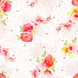 Peachy flowers, ranunculus, orchid, roses and exotic herbs seamless vector print. Beige twigs with speckes and stars backdrop Royalty Free Stock Images