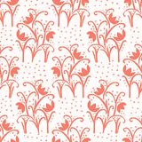 Peachy Living Coral Flower Blooms All Over Print Vector. Floral Seamless Repeating Pattern Background. Hand Drawn Bold Paper Cut Style Blossom. Pretty Fashion vector illustration