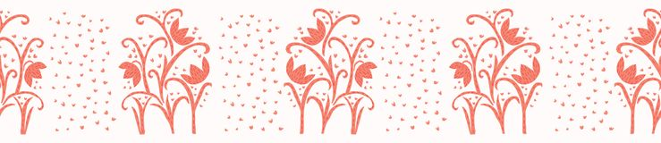 Peachy Living Coral Flower Blooms Border Vector. Pretty Floral Seamless Repeating Banner. Hand Drawn Bold Paper Cut Style Blossom. Trendy Fashion Ribbon Trim vector illustration